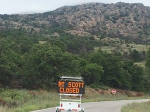 Photo of Mt Scott Closure Sign - Wichita Mountains Wildlife Refuge