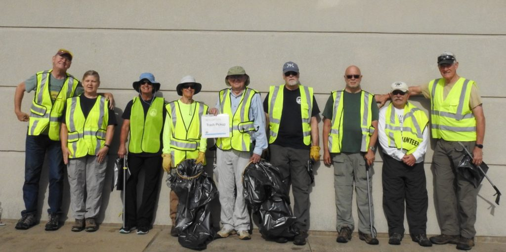 Our crew today picking up trash. Bobby Williamson, Mamie Maree, Susan Roskam, Lynda Trapp, Campbell Long, Jerry Elliot, Tom Plumlee, Don Greb, Jim Meyer and Me. Turned out to be a beautiful day to be outside in nature. Thank you everyone for helping.